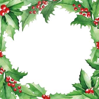 Akwarela kwadratowa ramka świąteczna z zielonymi liśćmi ostrokrzewu i czerwonymi jagodami