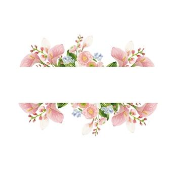 Akwarela kwadratowa ramka z różowymi kwiatami