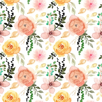 Akwarela kwiat i liście wzór