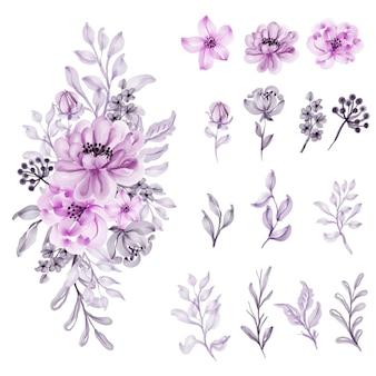 Akwarela kwiat miękki pastelowy róż na białym tle