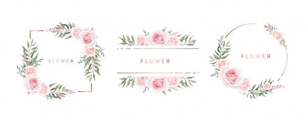 Akwarela kwiat rama róża eukaliptusa. szablon zaproszenia ślubne. metaliczna rama w kolorze różanym.