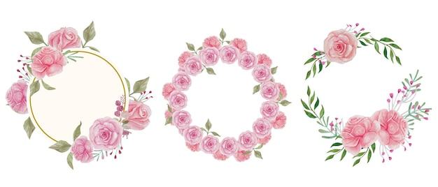 Akwarela kwiat różowa róża do dekoracji w stylu vintage