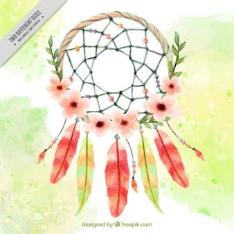 Akwarela kwiatów dreamcatcher tle