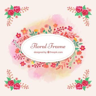 Akwarela kwiatów ramka w kolorze różowym