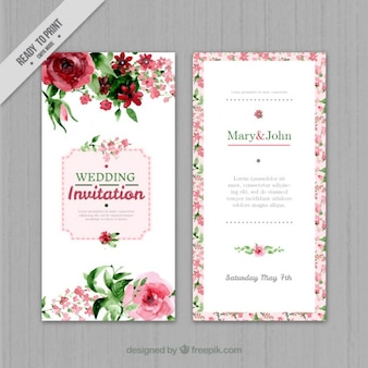 Akwarela kwiatów zaproszenia ślubne
