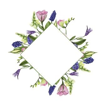 Akwarela kwiatowa ramka na specjalne okazje