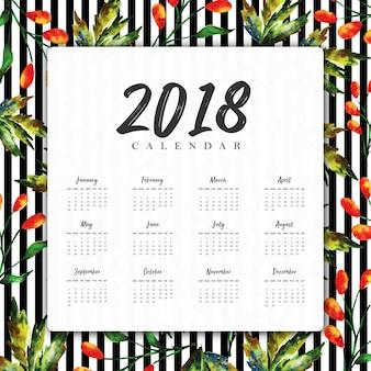 Akwarela kwiatowy 2018 nowy roczny kalendarz z czarnymi paskami
