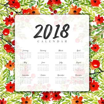 Akwarela kwiatowy 2018 nowy rok roczny kalendarz
