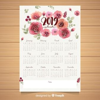 Akwarela kwiatowy 2019 szablon kalendarza