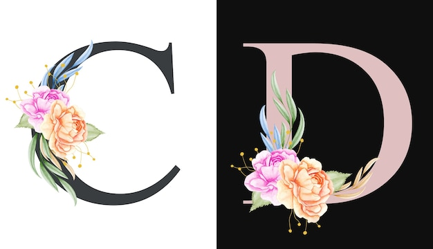 Akwarela kwiatowy alfabet zestaw c, d z pięknymi kwiatami i liśćmi