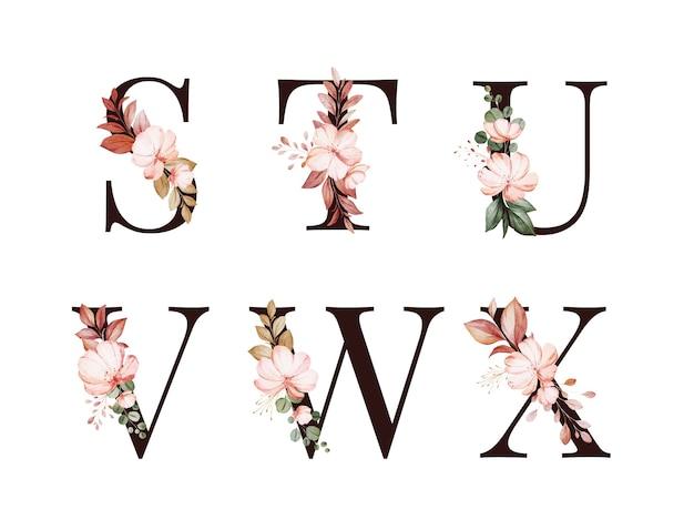 Akwarela kwiatowy alfabet zestaw s; t; u; v; w; x z czerwonymi i brązowymi kwiatami i liśćmi.