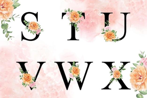 Akwarela kwiatowy alfabet zestaw stuvwx z ręcznie rysowane kwiaty i liście
