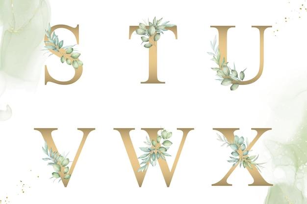 Akwarela kwiatowy alfabet zestaw stuvwx z ręcznie rysowane liście