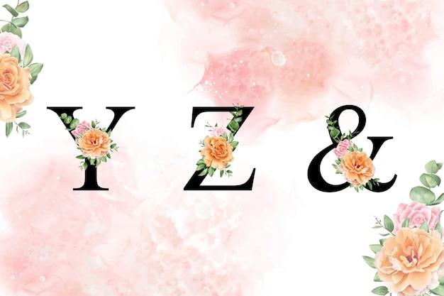 Akwarela kwiatowy alfabet zestaw yz i ręcznie rysowane kwiaty i liście