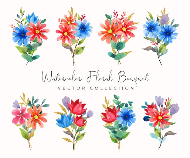 Akwarela kwiatowy bukiet czerwonych i niebieskich kwiatów kolekcji wektorów