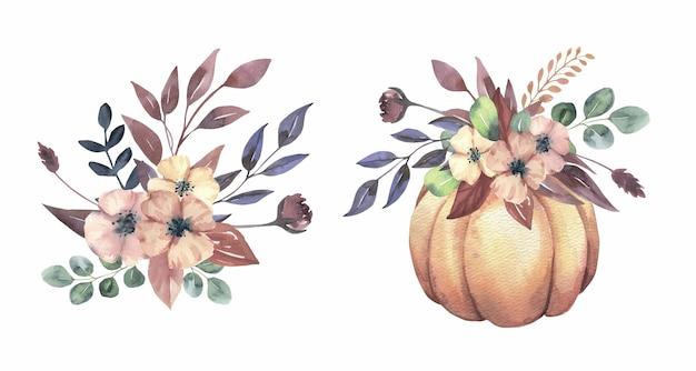 Akwarela kwiatowy bukiet dyni