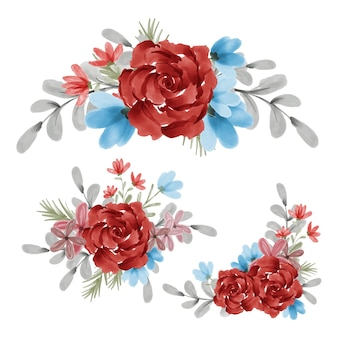 Akwarela kwiatowy bukiet z czerwonym kwiatem róży