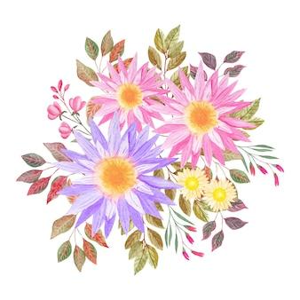 Akwarela kwiatowy bukiet z różowymi wiosennymi kwiatami i liśćmi