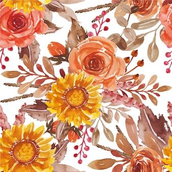 Akwarela kwiatowy czerwony pomarańczowy żółty układ bukiet na zaproszenie na ślub i kartkę z życzeniami