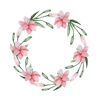 Akwarela kwiatowy delikatny wianek z różowych lilii na wyjątkową okazję