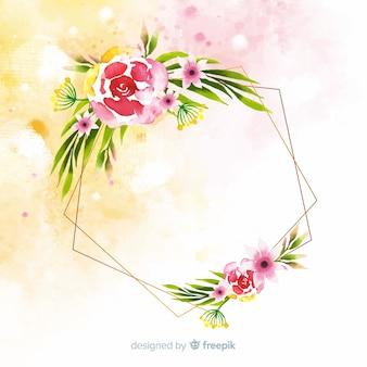 Akwarela kwiatowy geometryczne tło ramki