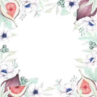 Akwarela kwiatowy i figi obramowanie ramki tła