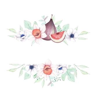 Akwarela kwiatowy i figi rama