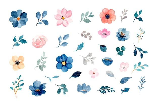 Akwarela kwiatowy i liści kolekcja elementów