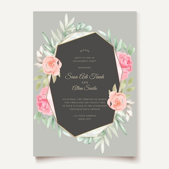 Akwarela kwiatowy i liści projekt karty ślubu