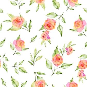 Akwarela kwiatowy i liści wzór