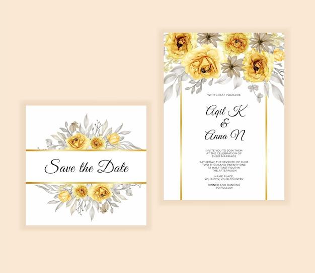 Akwarela kwiatowy i liści zaproszenie na ślub
