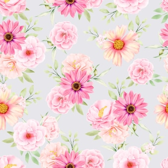 Akwarela kwiatowy i liście bez szwu wzór