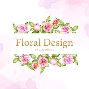 Akwarela kwiatowy i liście ślubne projekt karty