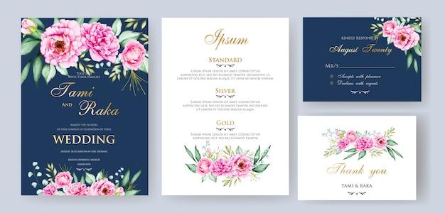 Akwarela kwiatowy i liście szablon karty ślubu
