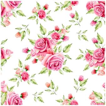 Akwarela kwiatowy i liście wzór