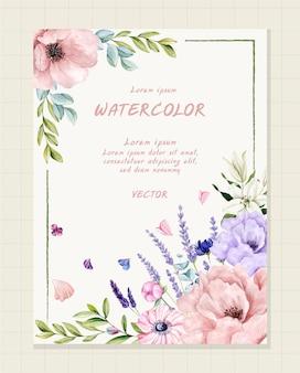 Akwarela kwiatowy karta ślubna