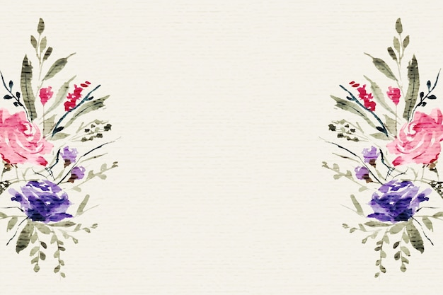 Akwarela kwiatowy kwiat dekoracji tła z miejsca na tekst
