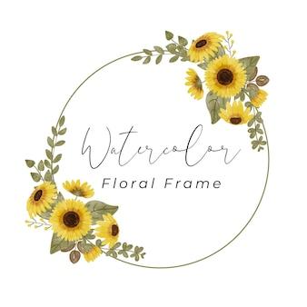 Akwarela kwiatowy kwiat ramki z pięknym kolorem