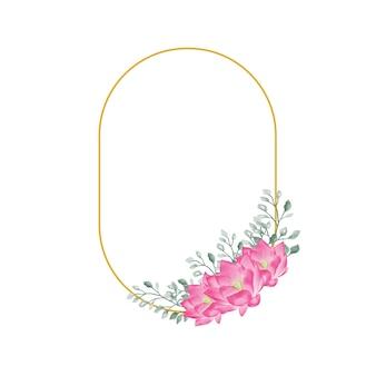 Akwarela kwiatowy kwiat z dekoracją ślubną w złotej ramie
