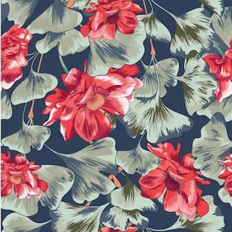 Akwarela kwiatowy liści bezszwowe tło wzór