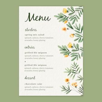 Akwarela kwiatowy menu szablon na ślub