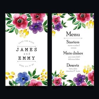 Akwarela kwiatowy menu weselne
