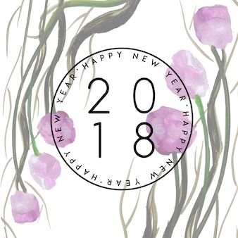 Akwarela kwiatowy nowy rok 2018