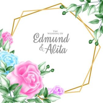 Akwarela kwiatowy ornament na zaproszenie i karty upominkowej