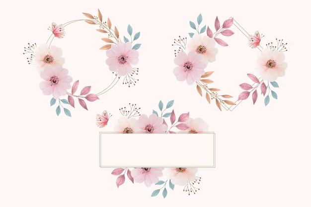 Akwarela kwiatowy pakiet ramki