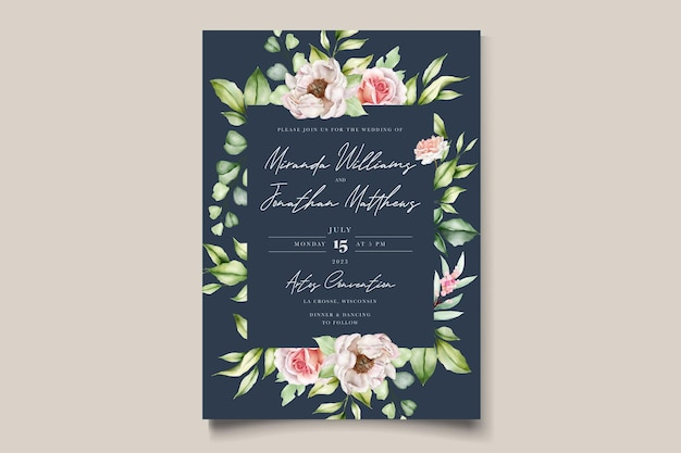 Akwarela kwiatowy piwonie i róże zaproszenie na ślub