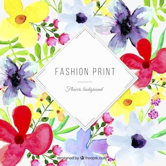 Akwarela kwiatowy print