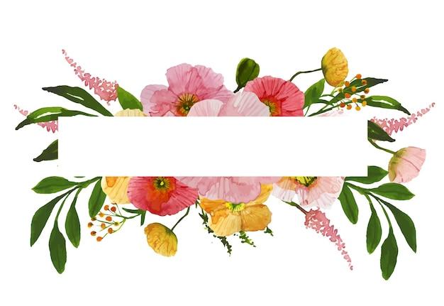 Akwarela kwiatowy prostokątna ramka