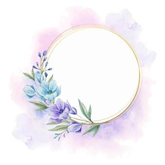 Akwarela kwiatowy rama dla karty z pozdrowieniami
