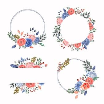 Akwarela kwiatowy rama i kolekcja wieniec